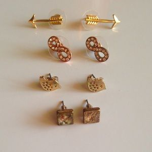 Jewelry - Four Pairs Of Cute Post Back Fashion Earrings